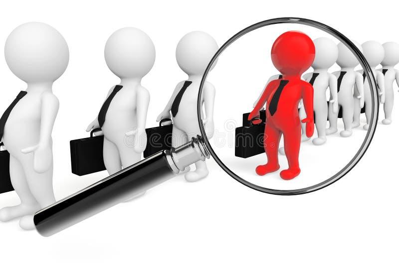 Lente que magnifica sobre trabajo en equipo gris con el líder rojo libre illustration