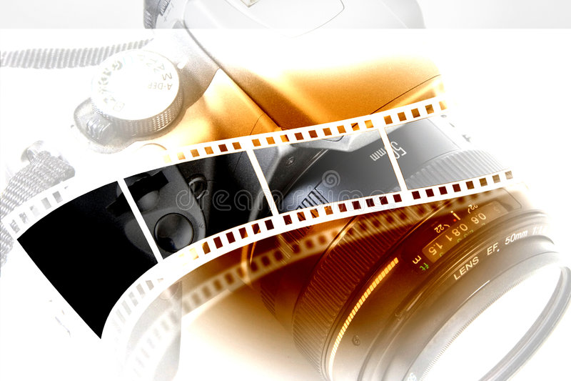 Lente y cámara fotos de archivo