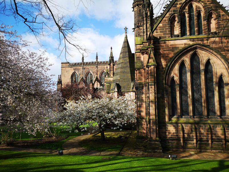Lentedag rond Chester Cathedral, Chester, Cheshire, Verenigd Koninkrijk royalty-vrije stock afbeelding