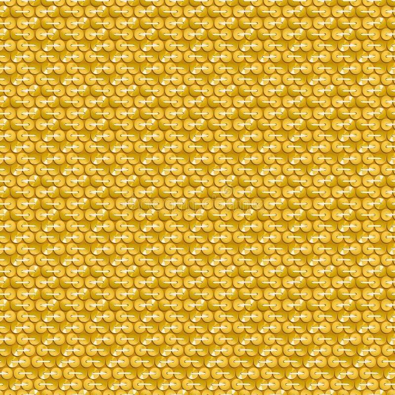 Lentejuelas brillantes del oro con la costura del modelo inconsútil stock de ilustración