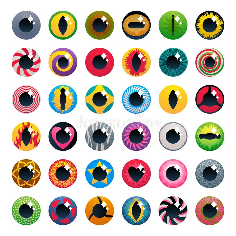 Lentes de contato da fantasia ajustadas - cores sortidos ilustração do vetor