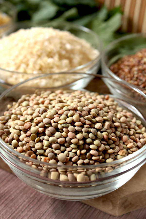 Lentil. Bowl with healthy lentil with different other bowls with cereals and seeds in the background stock photography