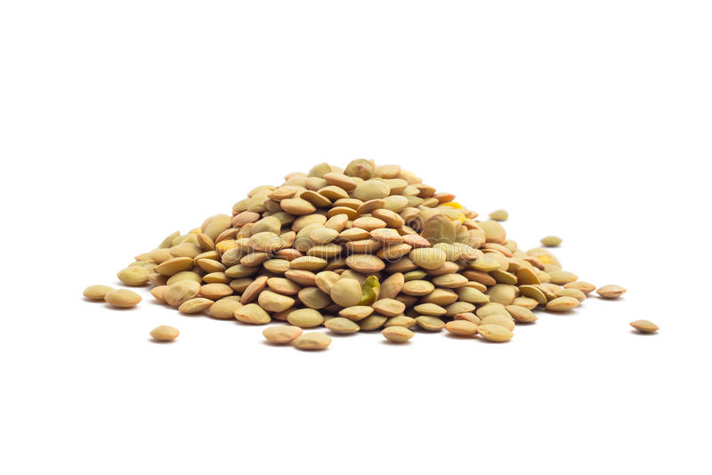 Lentil. Raw lentil beans isolated on white royalty free stock photography