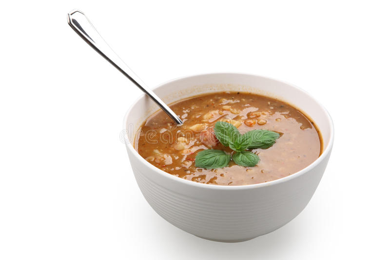 Lentil soup. In white bowl isolated with clipping path stock image