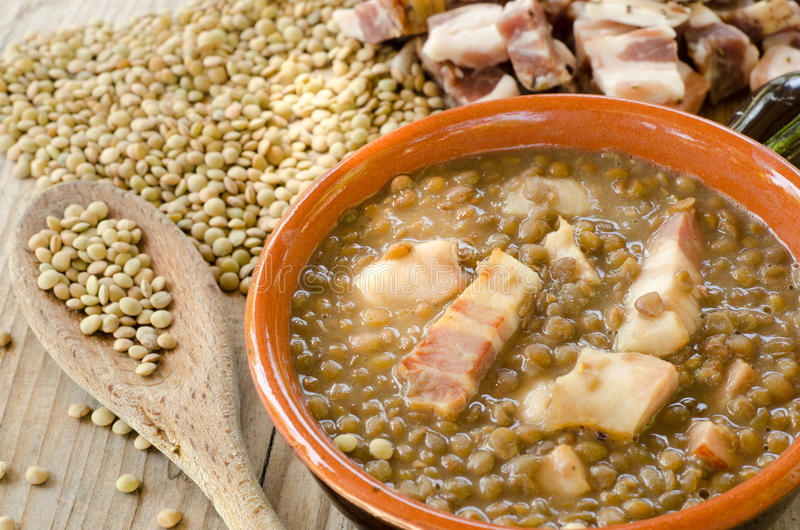 Download Lentil soup and bacon stock image. Image of pork, italian - 26716995