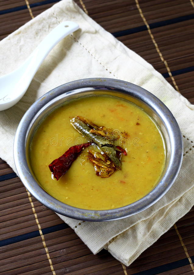 Lentil Soup. Indian style lentil soup, flavored with spice stock photo