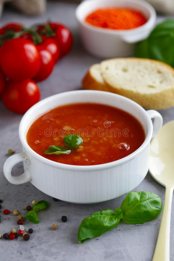Lentil soup with tomatoes royalty free stock photos
