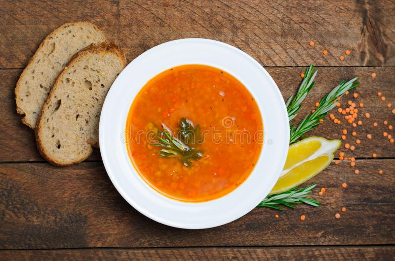 Lentil Soup on Wooden Background, Vegetable Soup royalty free stock photography