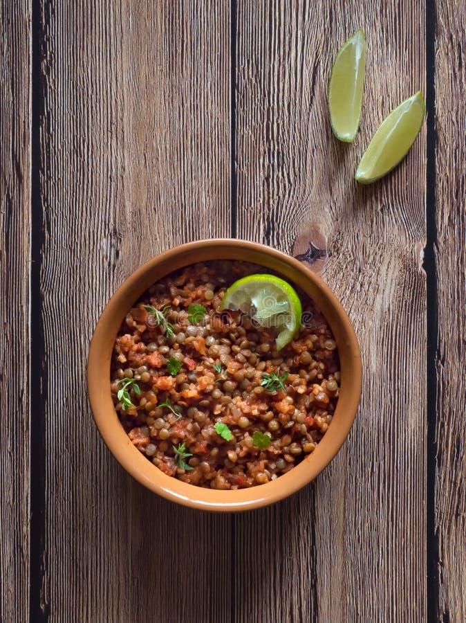 Lentil stew. Vegan lentil Bolognese. Diet food. stock photography