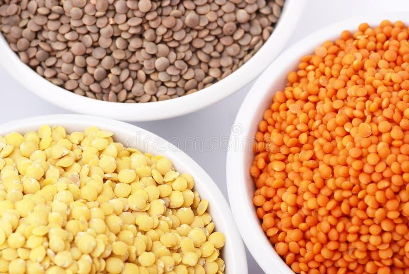 Lentil. Three kinds of lentil in bowls - red lentil, yellow lentil and brown lentil royalty free stock image