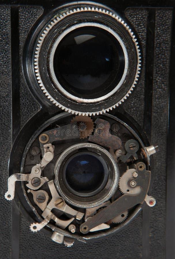 Lentille deux de vieux plan rapproché d'appareil-photo de vintage photos libres de droits