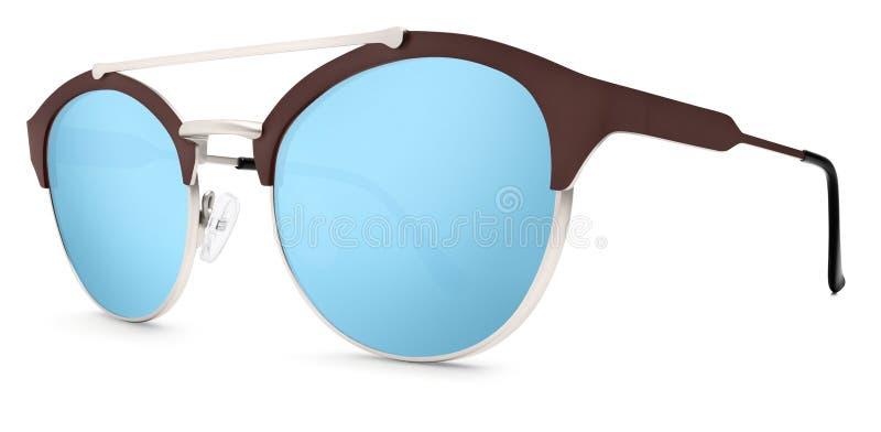 Lentilles bleues de miroir de lunettes de soleil argentées et brunes d'isolement sur le blanc photographie stock libre de droits