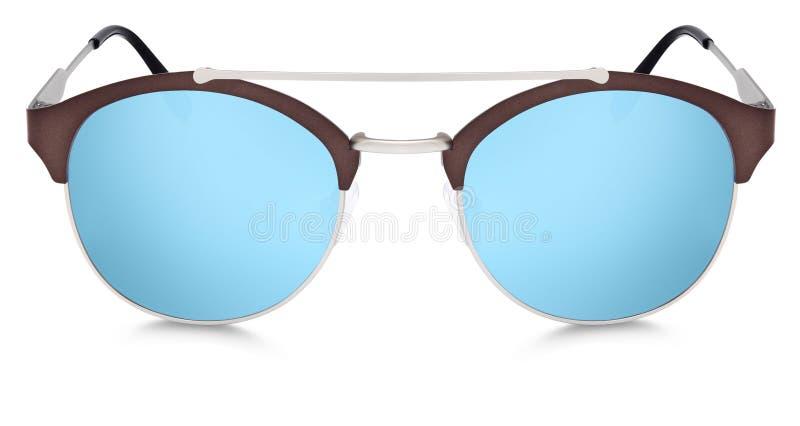 Lentilles bleues de miroir de lunettes de soleil argentées et brunes d'isolement sur le blanc photos libres de droits