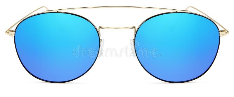 Lentilles bleues de miroir de lunettes de soleil d'or d'isolement sur le blanc photo libre de droits