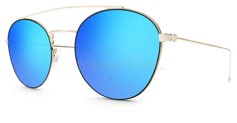 Lentilles bleues de miroir de lunettes de soleil d'or d'isolement sur le blanc photos libres de droits