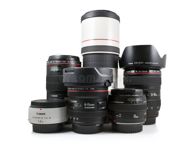 Lentilles de Canon image stock
