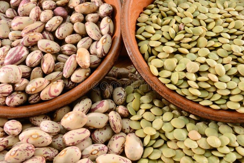 Lentilles et haricots secs images stock
