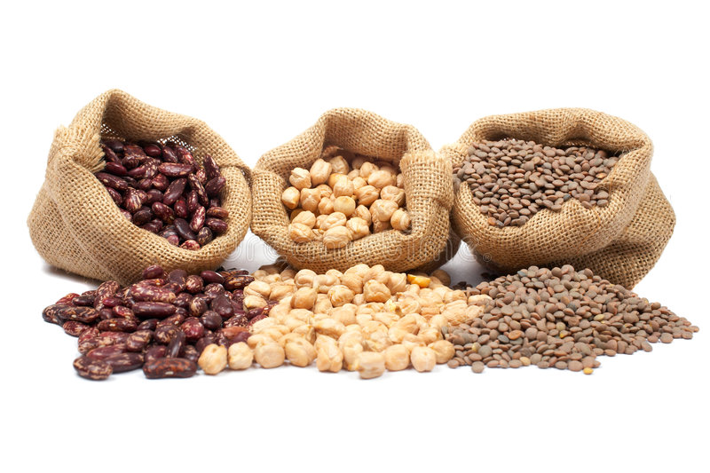 Lentils, chickpeas and beans royalty free stock images