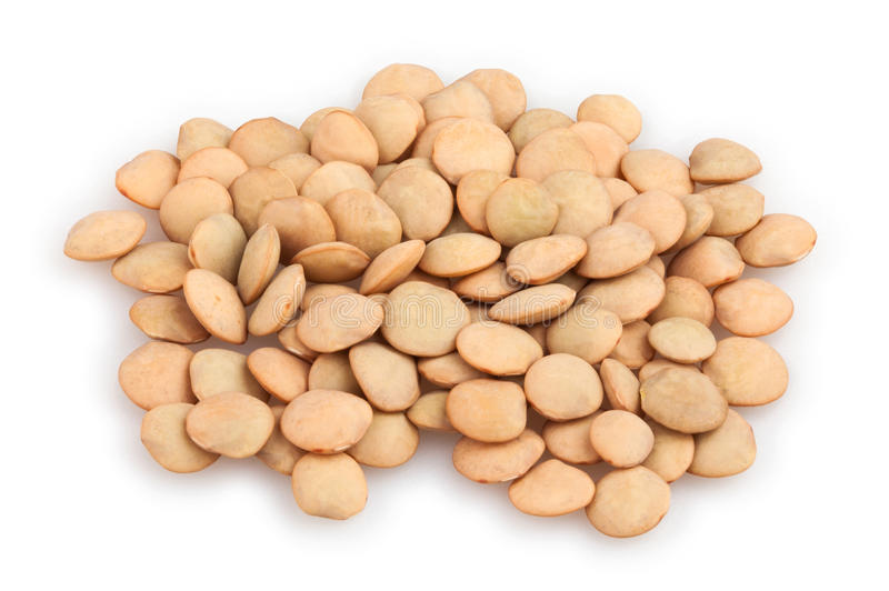 Lentils. Group on white background stock photography