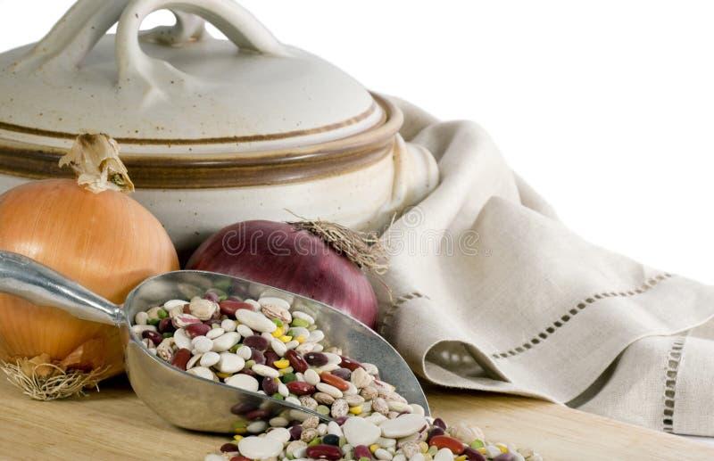 Lentils Onions & Stoneware Pot stock photography