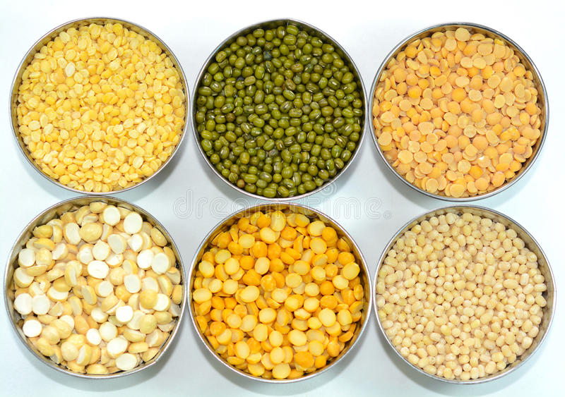 Lentils and Pulses. Red gram, green and white gram stock image