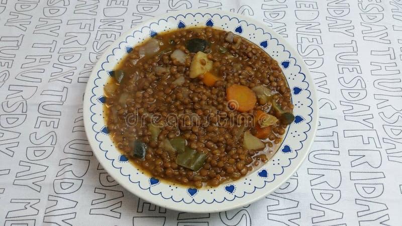 Lentils with vegetables. Recetas de cocina royalty free stock photos