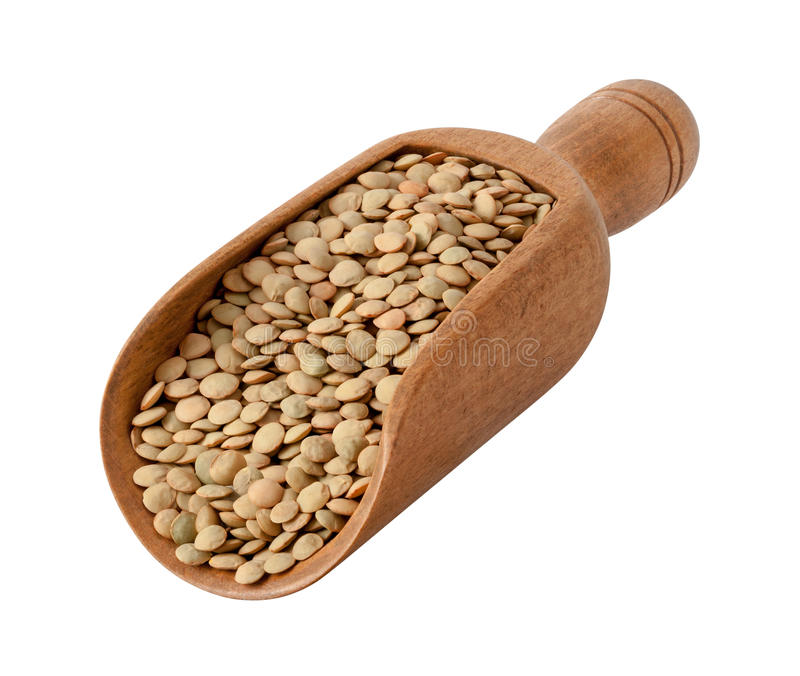Lentils in a Wood Scoop stock photos