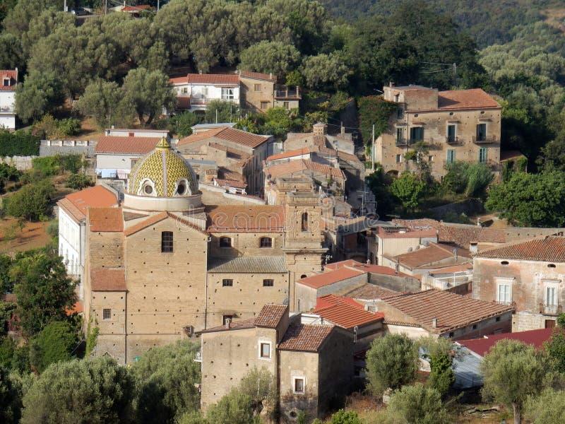 Lentiscosa - vista di vecchia città immagini stock libere da diritti