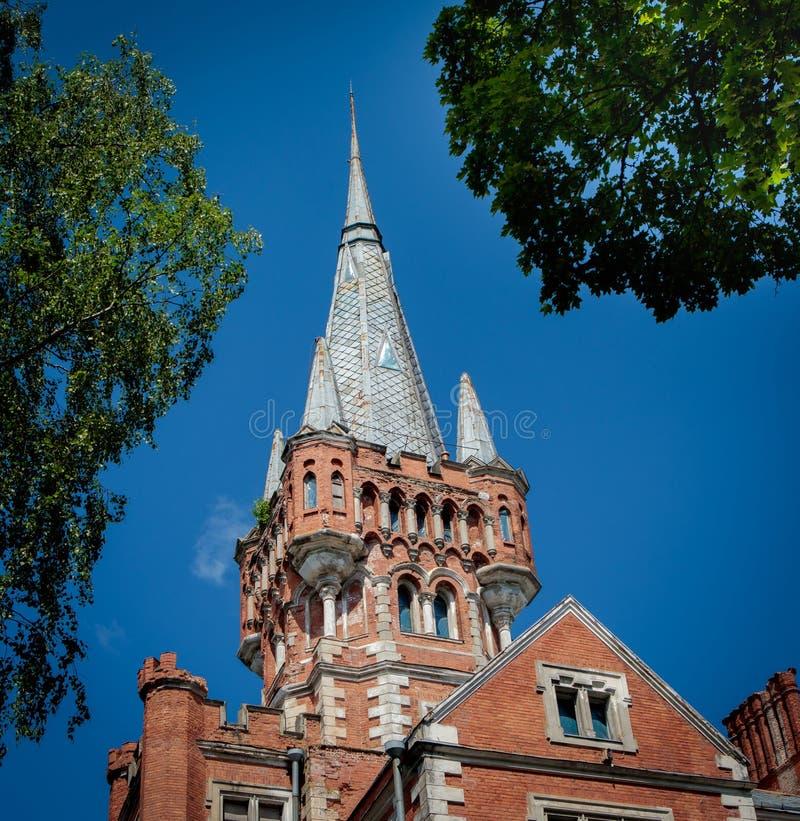 Lentvaris manor in Lithuania. Lentvaris, Lithuania - May 19, 2018: Architectural details of Lentvaris manor, XIX century manor, built in neo-gothic style, now stock photo