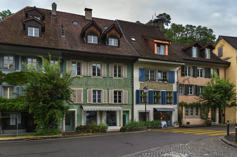 Lenzburg, Switzerland. Street with historical houses in Lenzburg old town, Switzerland royalty free stock images