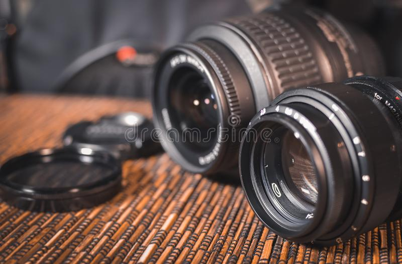 lenzen Een reeks fotografen Beschermend glas stock foto