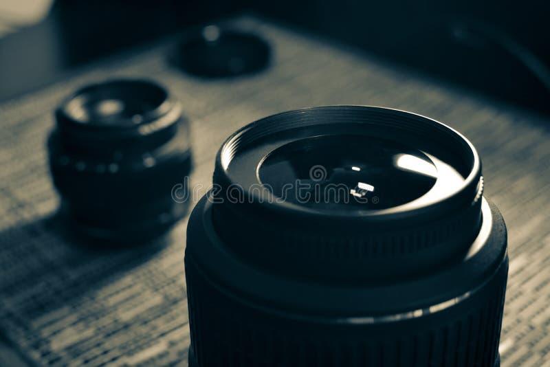 lenzen Een reeks fotografen Beschermend glas stock foto's