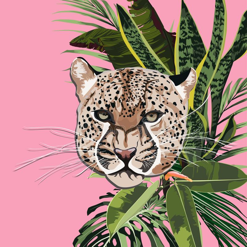Graceful leopard and tropical leaves. Savana cat. Elegant poster, t-shirt composition, hand drawn style print. stock illustration