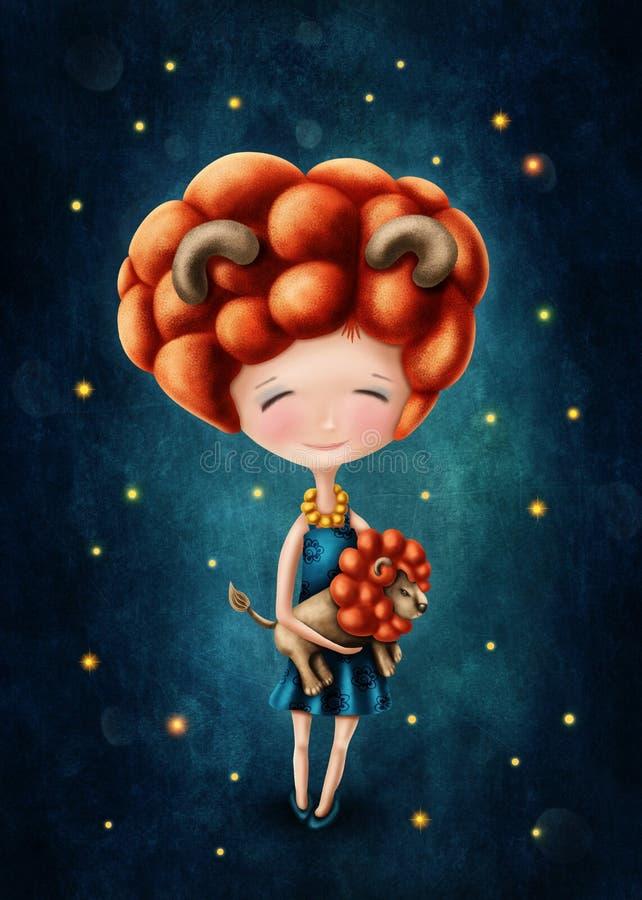 Leo astrologiczna szyldowa dziewczyna ilustracji