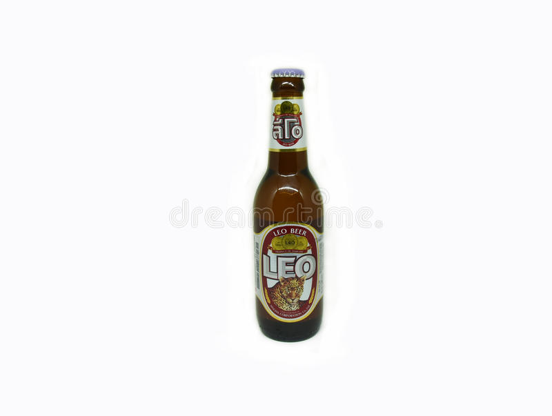 Leo Beer. Small Bottle isolated on white - LAGER BEER 330 ML. alcohol 5.0 stock image