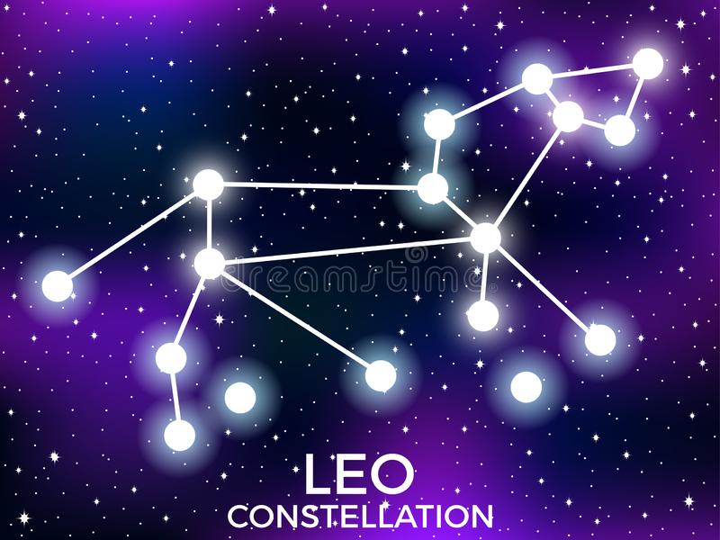 Leo constellation. Starry night sky. Cluster of stars and galaxies. Deep space. Vector. Illustration royalty free illustration