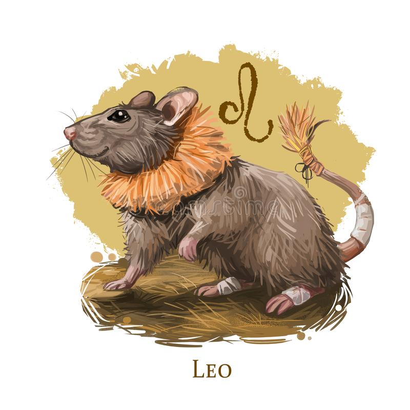 Leo creative digital illustration of astrological sign. Rat or mouse symboll of 2020 year signs in zodiac. Horoscope fire element. Logo sign with lion head stock illustration