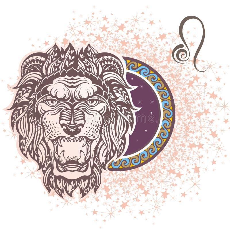 leo grafika projekta znaka symboli/lów dwanaście różnorodny zodiak royalty ilustracja