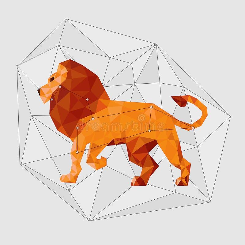 Leo gwiazdozbiór z linią gwiazdy na szare linie ilustracja wektor