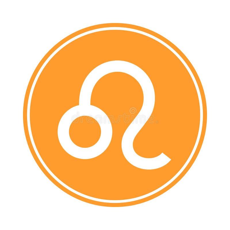 Leo Icon Vetor astrológico, sinal do horóscopo Símbolo do zodíaco Elemento do fogo etiqueta Ilustração do vetor isolada no branco ilustração royalty free