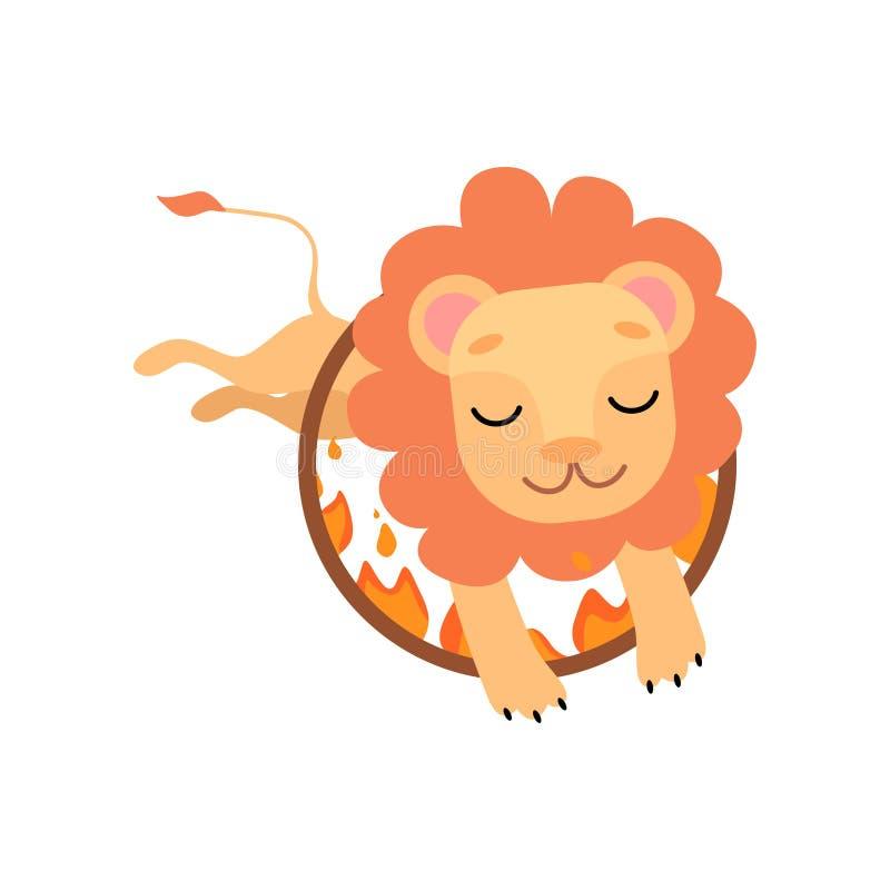 Leo Jumping Through Ring do fogo, animal engraçado bonito que executa na ilustração do vetor da mostra do circo ilustração stock