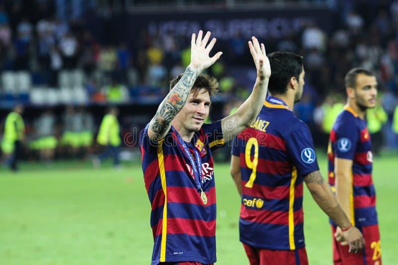 Leo Messi durante la tazza eccellente dell'UEFA della partita fotografia stock