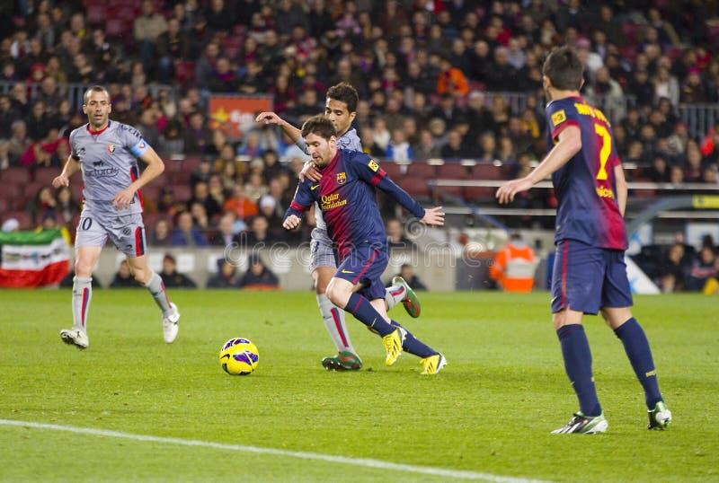 Leo Messi en la acción fotos de archivo libres de regalías