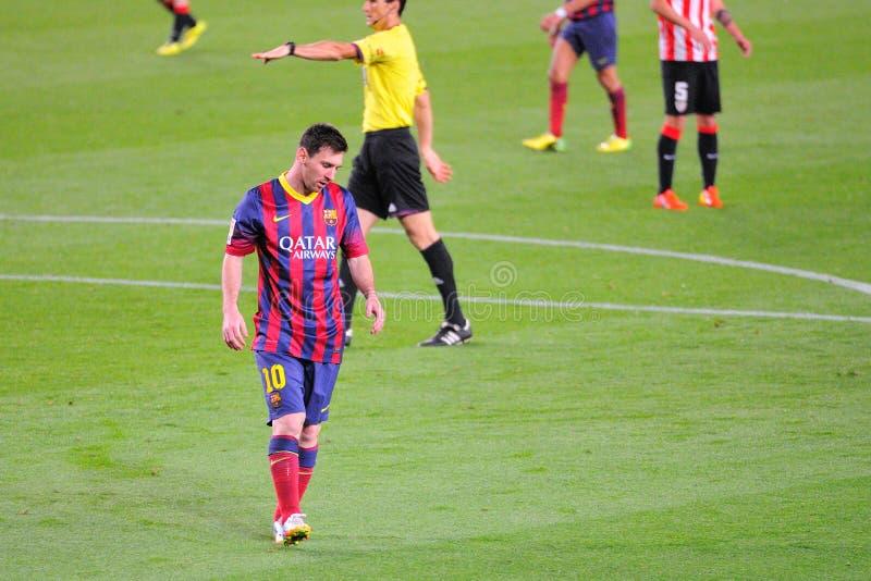 Leo Messi, F C Barcelona gracz w akci przeciw Sportowemu Bilbao, obrazy royalty free