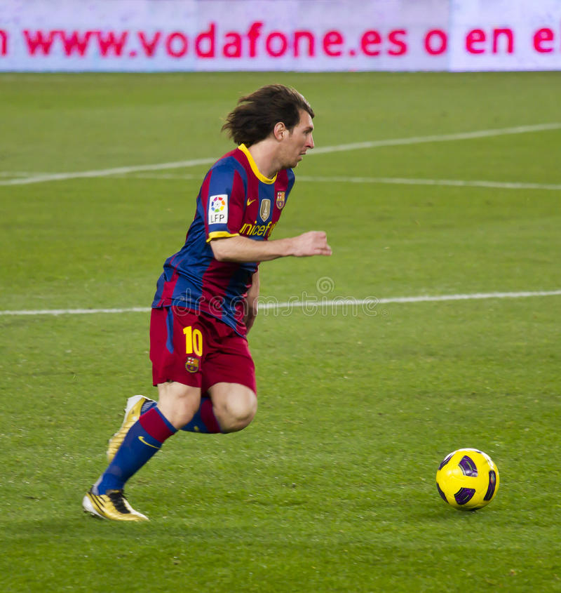 Leo Messi (FC Barcelona). BARCELONA - DECEMBER 13: Nou Camp stadium, Spanish League match: FC Barcelona - Real Sociedad, 5 - 0. In the picture, Leo Messi royalty free stock photos