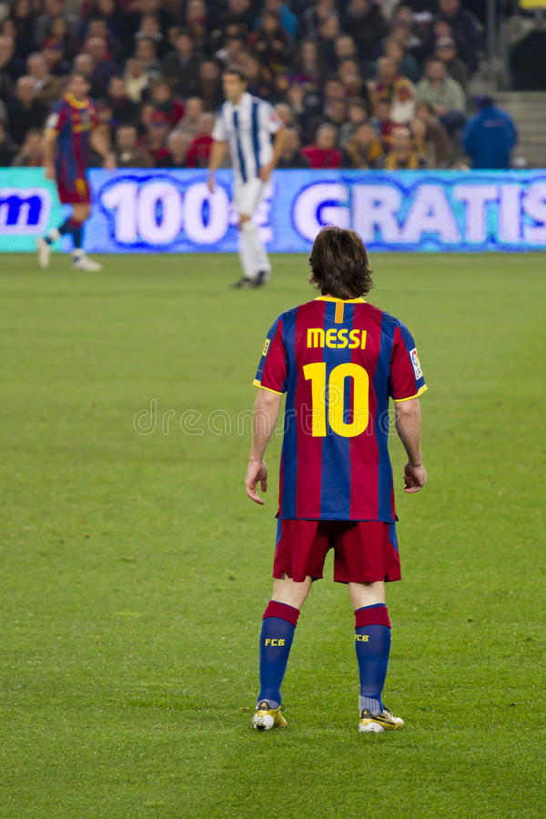 Leo Messi (FC Barcelona). BARCELONA - DECEMBER 13: Nou Camp stadium, Spanish League match: FC Barcelona - Real Sociedad, 5 - 0. In the picture, Leo Messi stock photo