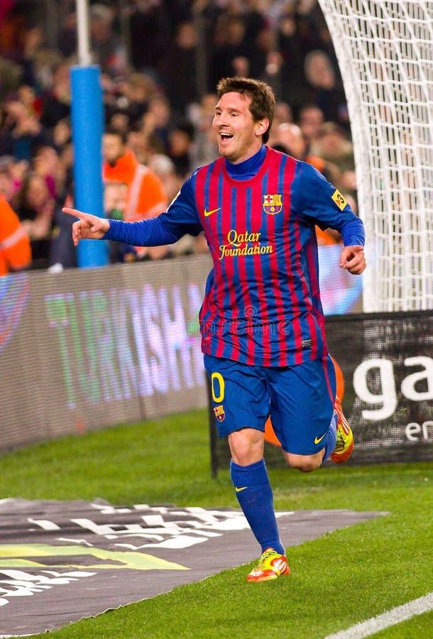 Leo Messi que celebra una meta fotos de archivo