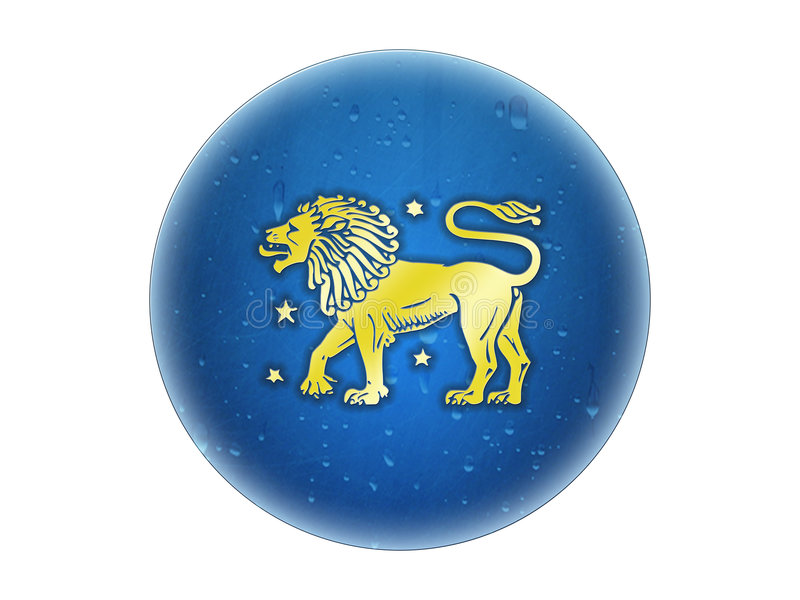 Leo - muestra de oro del zodiaco stock de ilustración
