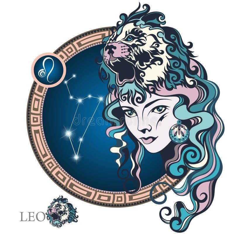 Leo Muestra del zodiaco stock de ilustración