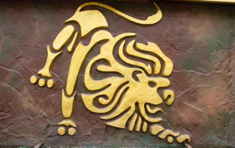Leo sign. Of horoscope on the wall stock photos